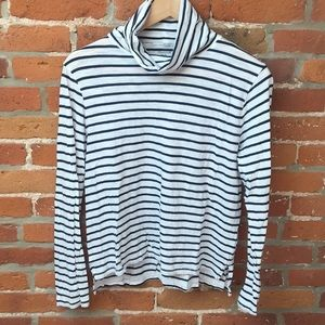 Madewell whisper cotton striped turtleneck tee, M